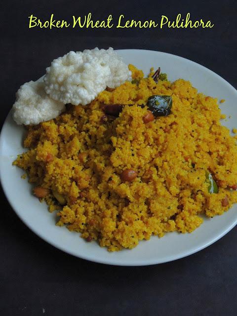 Godhuma Rava Lemon Pulihora, Broken Wheat Lemon Pulihora