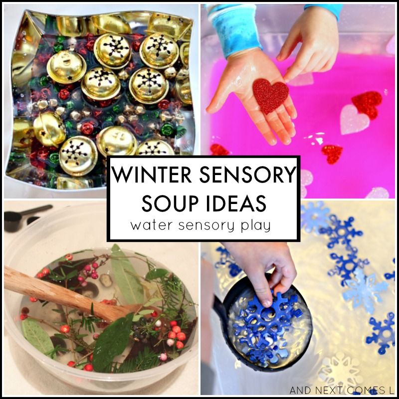 Winter water sensory soup ideas for toddlers and preschoolers from And Next Comes L