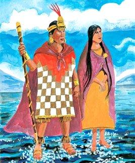 Imagen de Manco Capac y Mama Ocllo en el Lago Titicaca