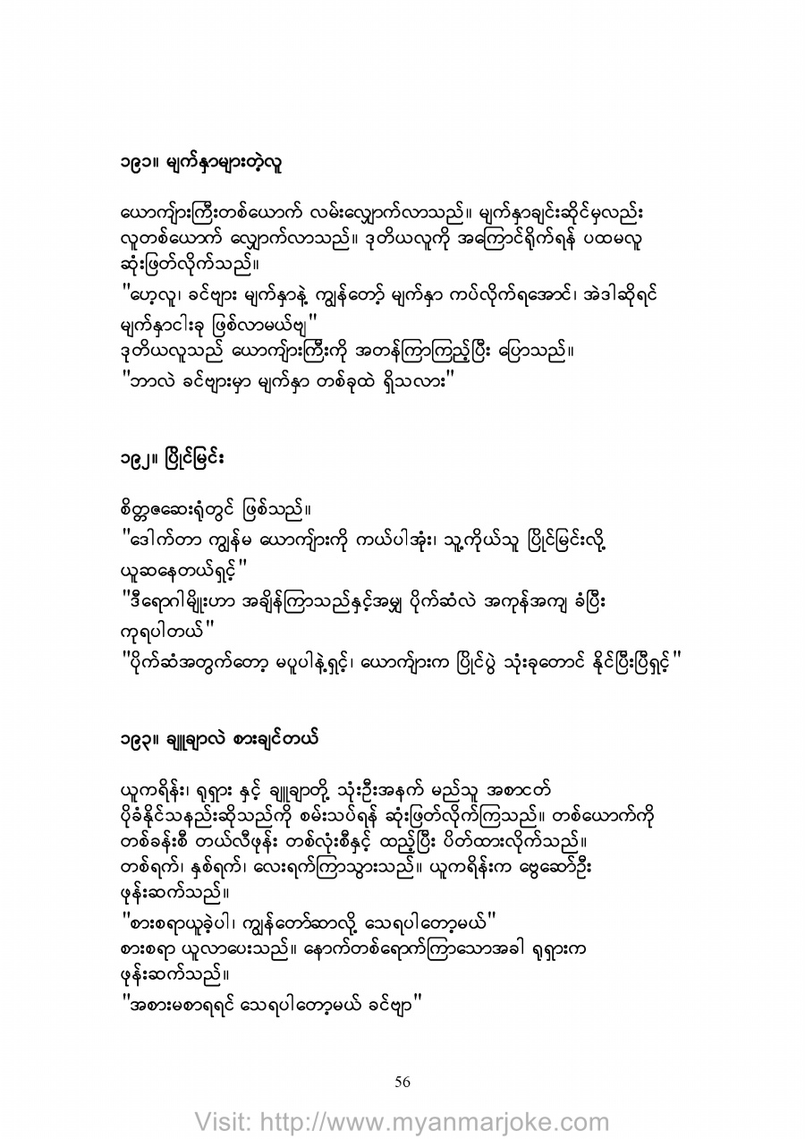 The Parallel, myanmar jokes