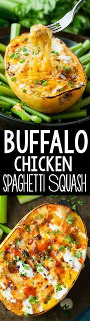 Cheesy Buffalo Chicken Spaghetti Squash Bowls