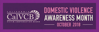 CalVCB logo and text: Domestic Violence Awareness Month, October 2018.