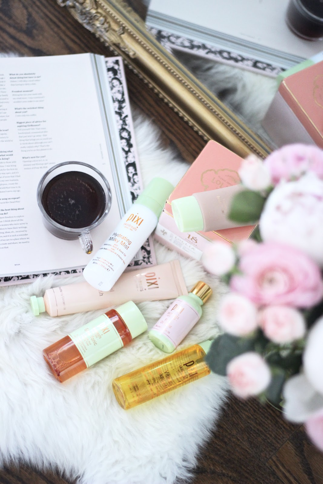 Pixi Beauty Review: Glow Tonic Hydrating Milky Mist Flawless Beauty Primer mixed with Rose Oil Blend Vitamin Wake Up Mist Endlessly Silky Eye Pen- Bronzebeam Beauty Bronzer- Summertime