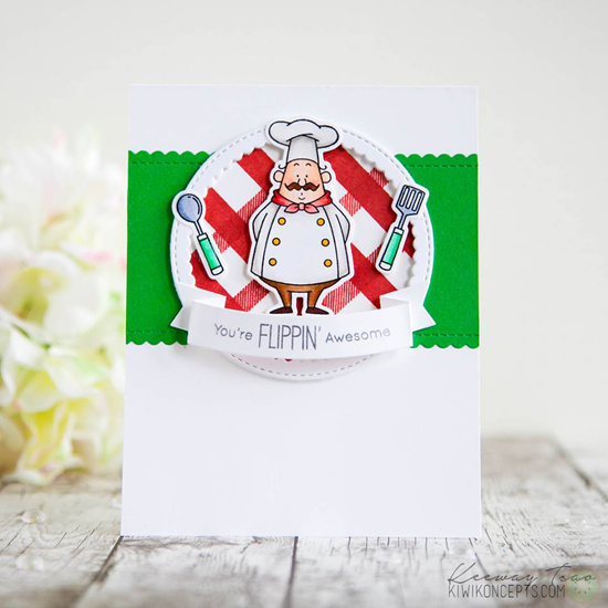 Birdie Brown Recipe for Happiness stamp set and Die-namics, Plaid Background Builder stamp set, Stitched Circle Scallop Frames, Stitched Mini Scallop Rectangle STAX, and Dimensional Banners Die-namics - Keeway Tsao #mftstamps
