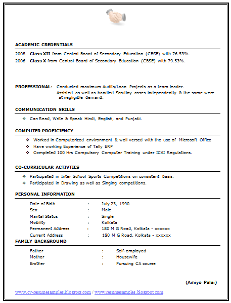 Resume Format For Commerce Background | Additional Resume Common App
