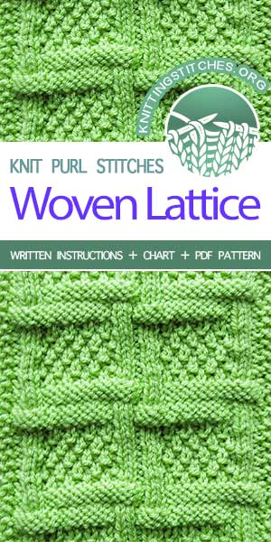 Knitting Stitches -- Woven Lattice with Moss Stitch pattern. Instructions provided in charted and written form.