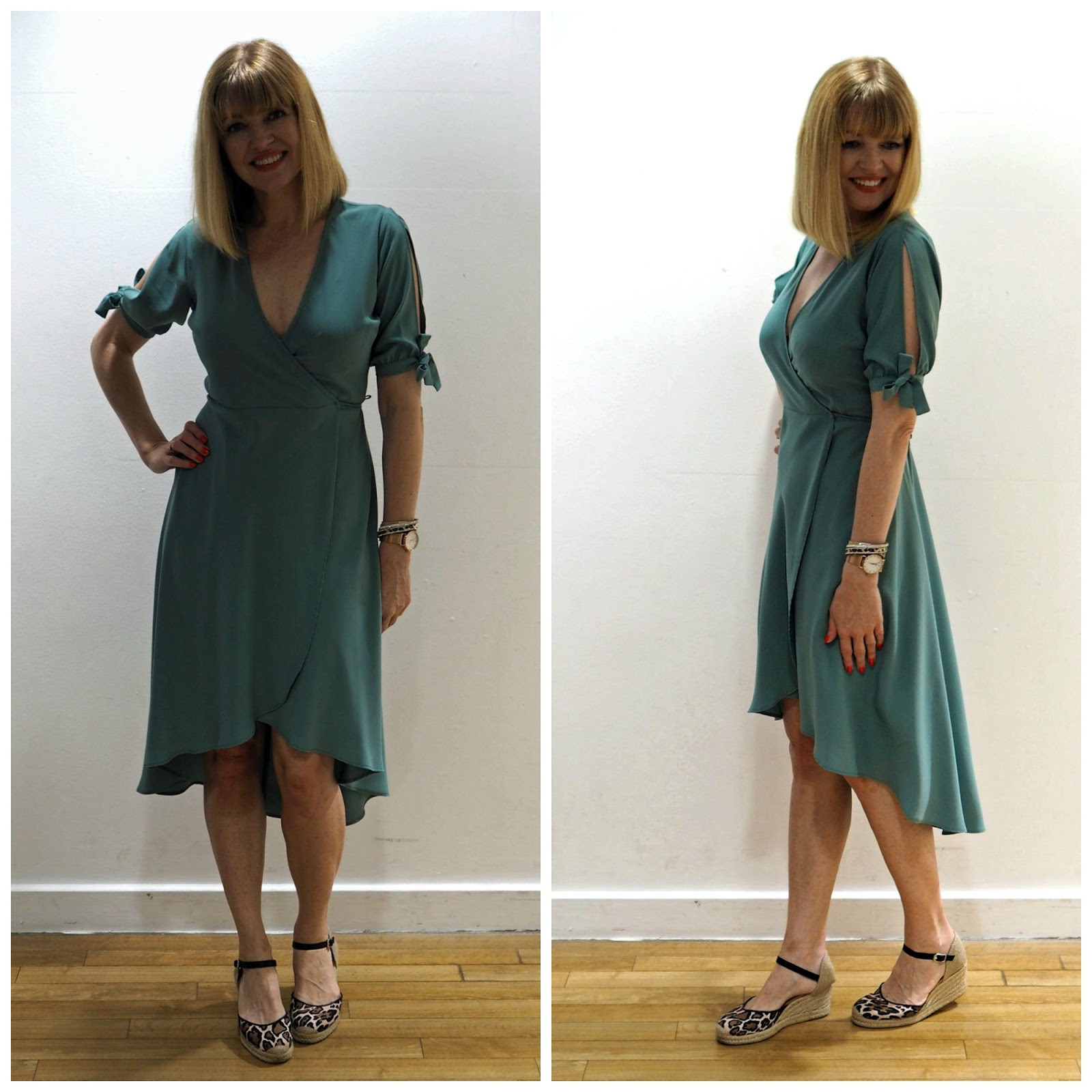 What to wear for York Races, Topshop green wrap dress, over 40