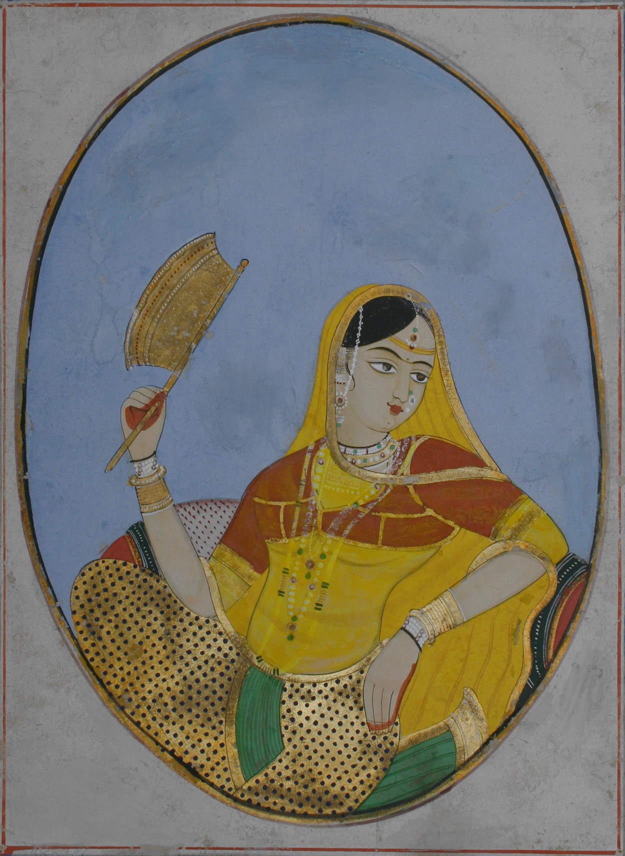 A courtesan with a Golden Fan - Watercolour Painting, Jaipur c1840-60