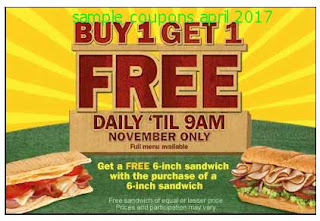 free Subway coupons for april 2017