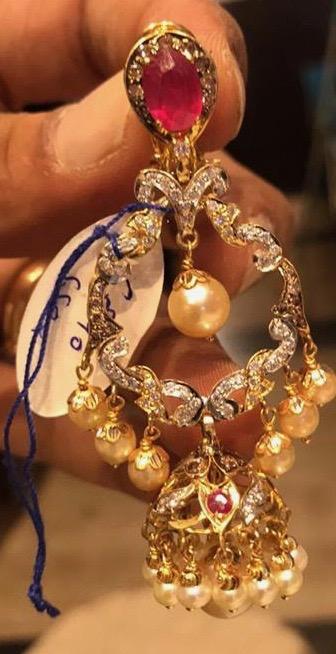 60grams Large CZ Chandbali Earrings