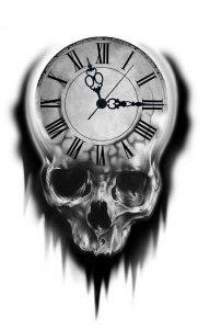 amazing clock and skull tattoos