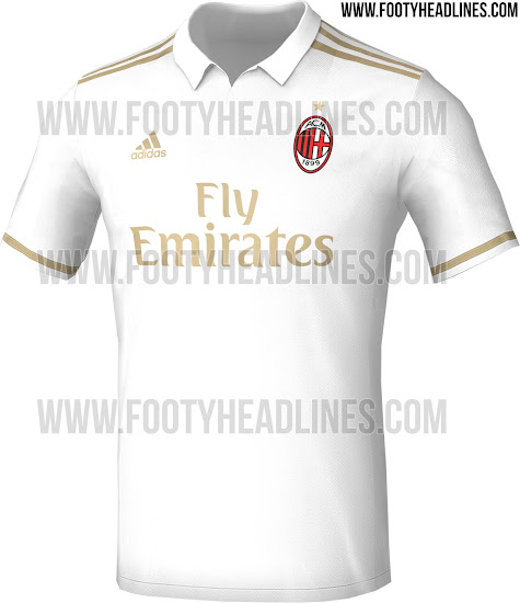 c91d2ad2f The new shirt is predominantly white with gold accents making up the  secondary colours. The AC Milan logo remains intact while the Adidas and  Fly Emirates ...