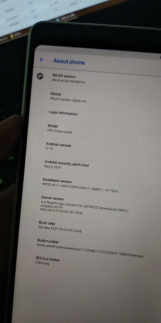 Nokia 7 plus running Resurrection Remix