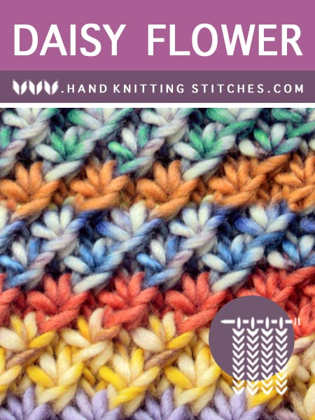 Hand Knitting Stitches - Daisy Flower Pattern #freeknittingpatterns