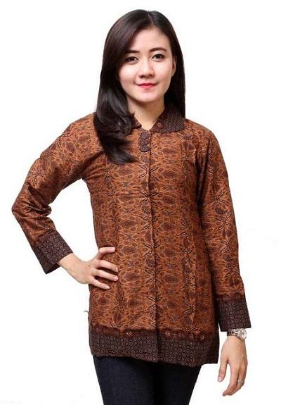 model baju batik wanita kerja lengan panjang terbaru