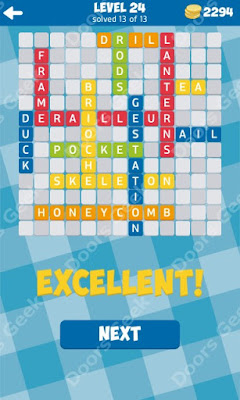 Cheats, Solutions for Level 24 in 13 Word Connect by Second Gear Games