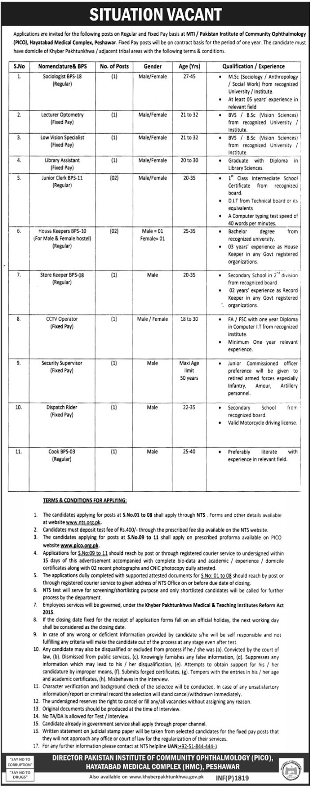Jobs In Hayatabad Medical Complex Peshawar  22 Apr 2017