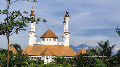 Tasikmalaya Great Mosque as Seen from City Park with Mt. Galunggung as Background