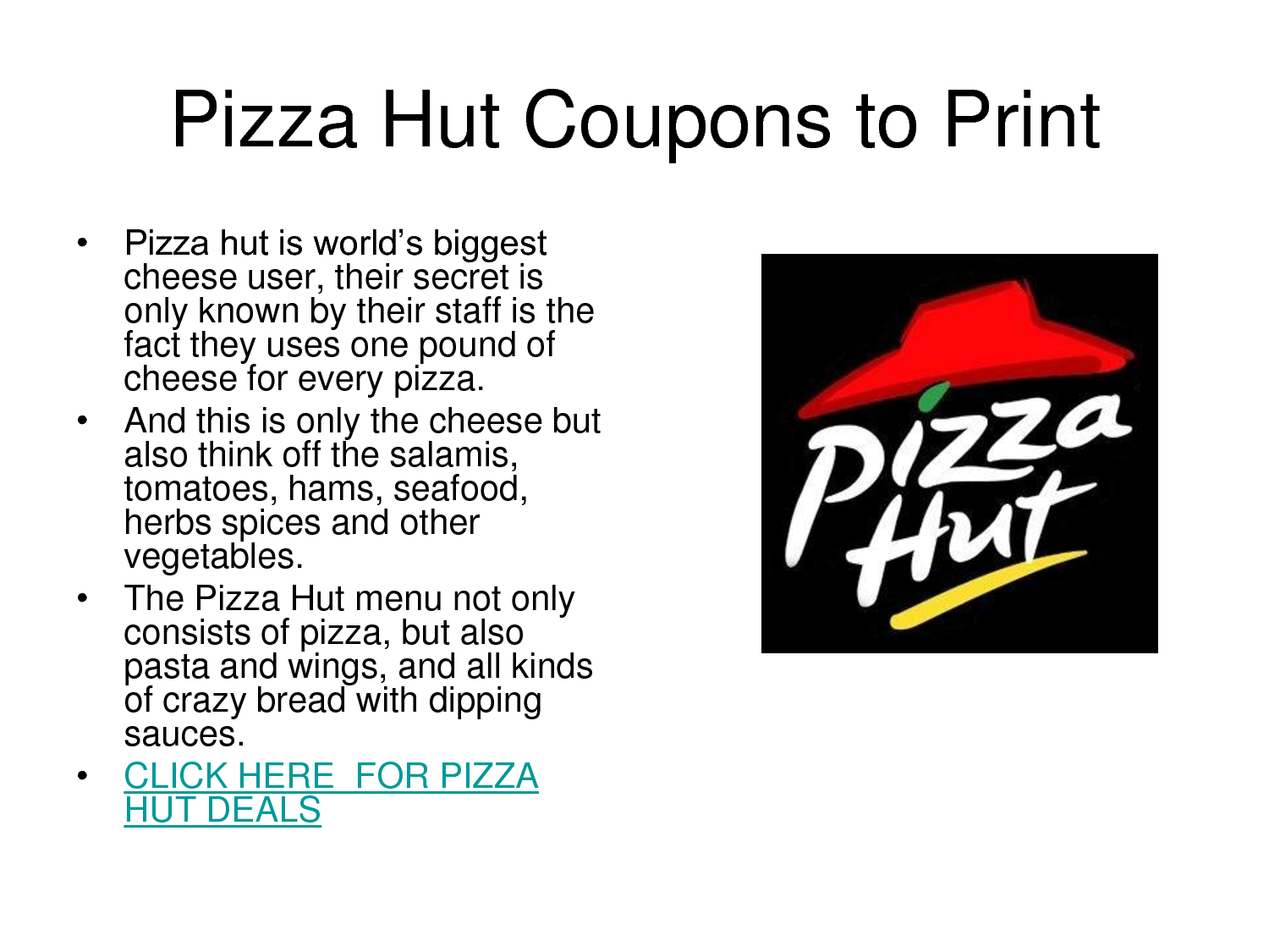 All Active Pizza Hut Coupon Codes & Coupons - Up To 50% off in December With more than 12, restaurants in about countries, Pizza Hut is a force to be reckoned with. Order online if you are looking for fast pizza delivery and enjoy some tasty .