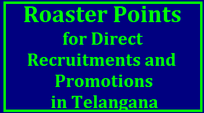 Roaster Points for Direct Recrutment and Promotions in Telangana Roaster Points for Direct Recrutments and Promotions in Telangana TSPSC DSC TRT and promotions in all Departments of Telangana Government with cycle of 100 point roaster Telangana Teachers recruitment Test will be conducted by Telangana Public Service Commission shortly and Department wise Promotion Panels will be prepared by the HODs as per the 100 Points Roaster. This Roaster may effect Teachers Recruitment Process roaster-points-for-direct-recrutments-promotions-telangana-tspsc-dsc-trt/2017/10/roaster-points-for-direct-recrutments-promotions-telangana-tspsc-dsc-trt.html