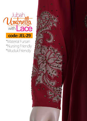 Jubah Umbrella Lace JEL-29 Red Tangan 1