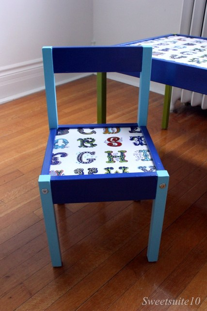 Ikea Latt chair painted with fabric seat