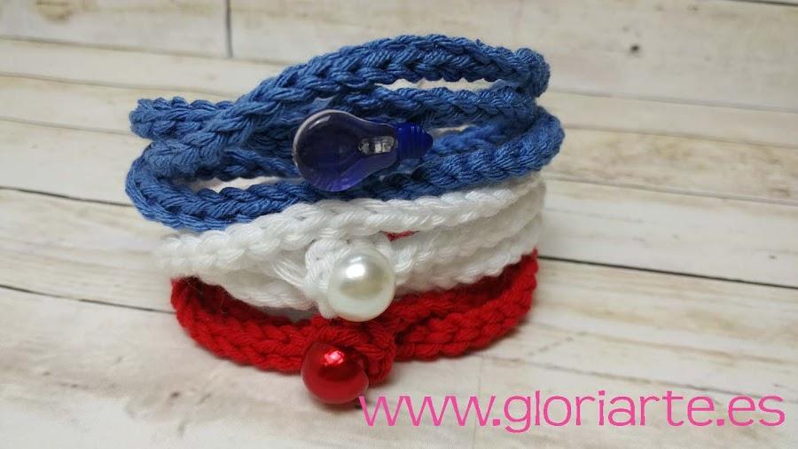 pulseras de crochet con colores de moda
