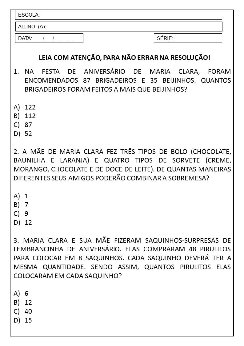 Fabuloso PLANO DE AULA 3º ANO: SEQUÊNCIA DIDÁTICA DE MATEMÁTICA — SÓ ESCOLA YX83