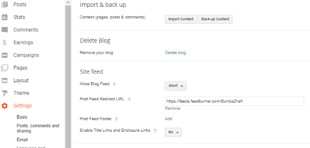 RSS Feed Setting