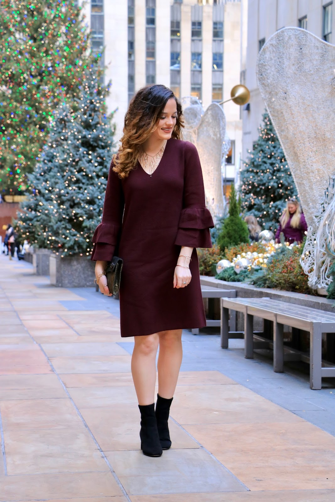 Nyc fashion blogger Kathleen Harper wearing a 2017 holiday dress by Ann Taylor