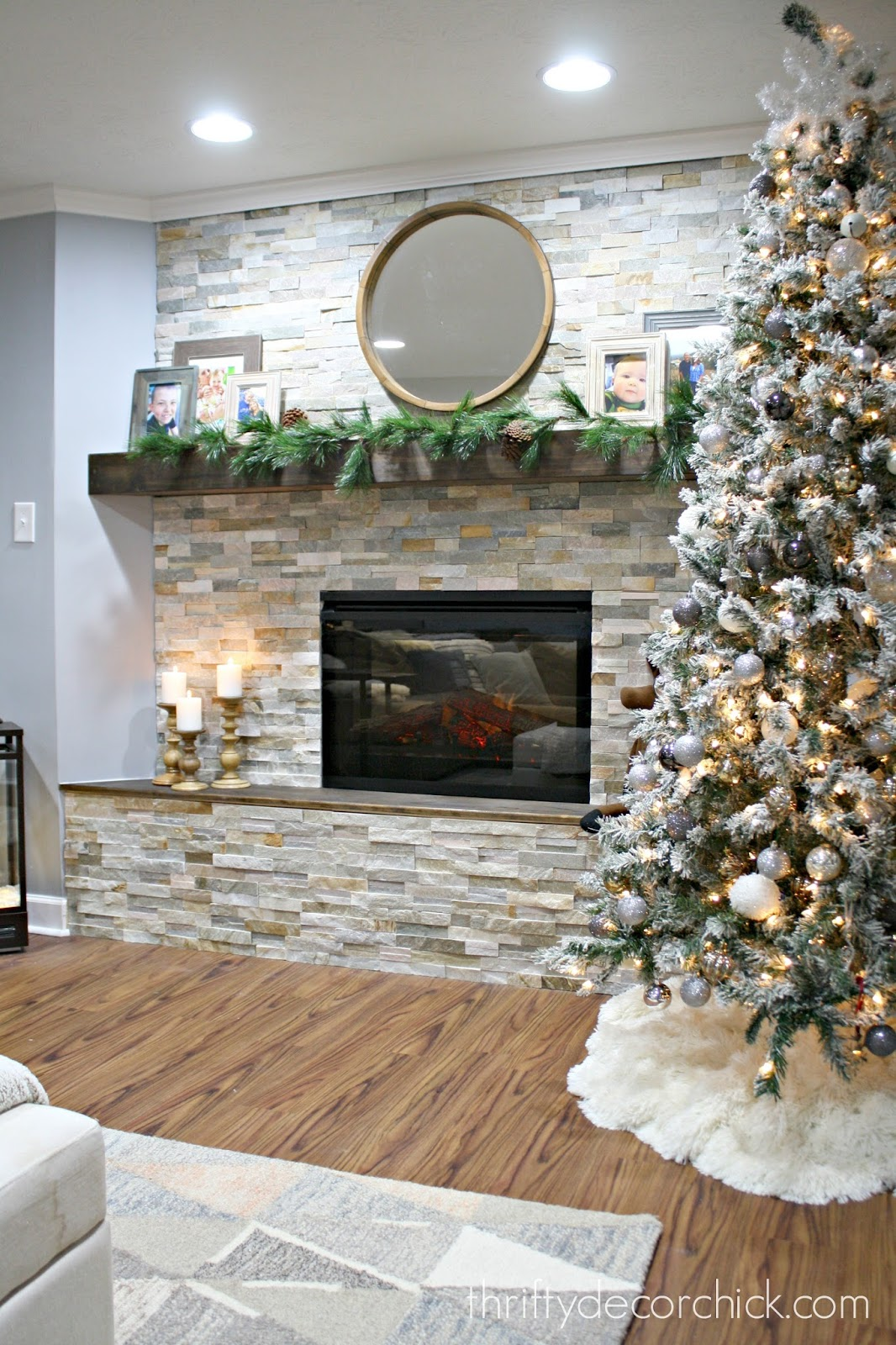DIY stacked stone fireplace where there was none from Thrifty Decor Chick