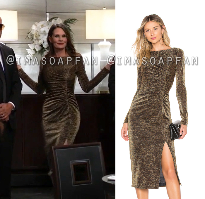 Lucy Coe, Lynn Herring, Shimmery Gold Ruched Dress, General Hospital, GH