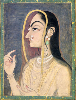 Radha painting with lotus-eyes in profile