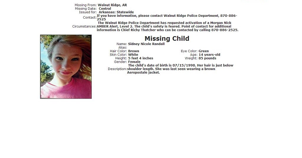 Amber Alerts And Missing Children Cases Updates Amber Alert Continues For Missing Arkansas Teen Sidney Randall Videos