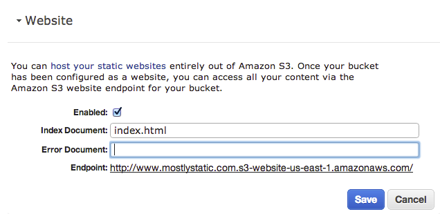 Hosting a static website on Amazon S3