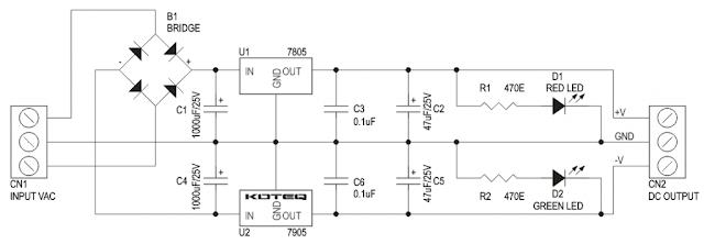 دائرة مصدر تغذية بجهد -5 و+5 فولت باستخدام 7805 و7905