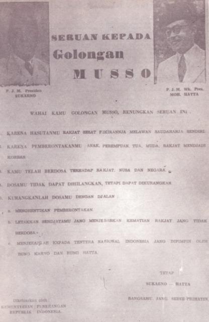 Pamflet Peringatan Soekarno-Hatta kepada gerombolan PKI Madiun