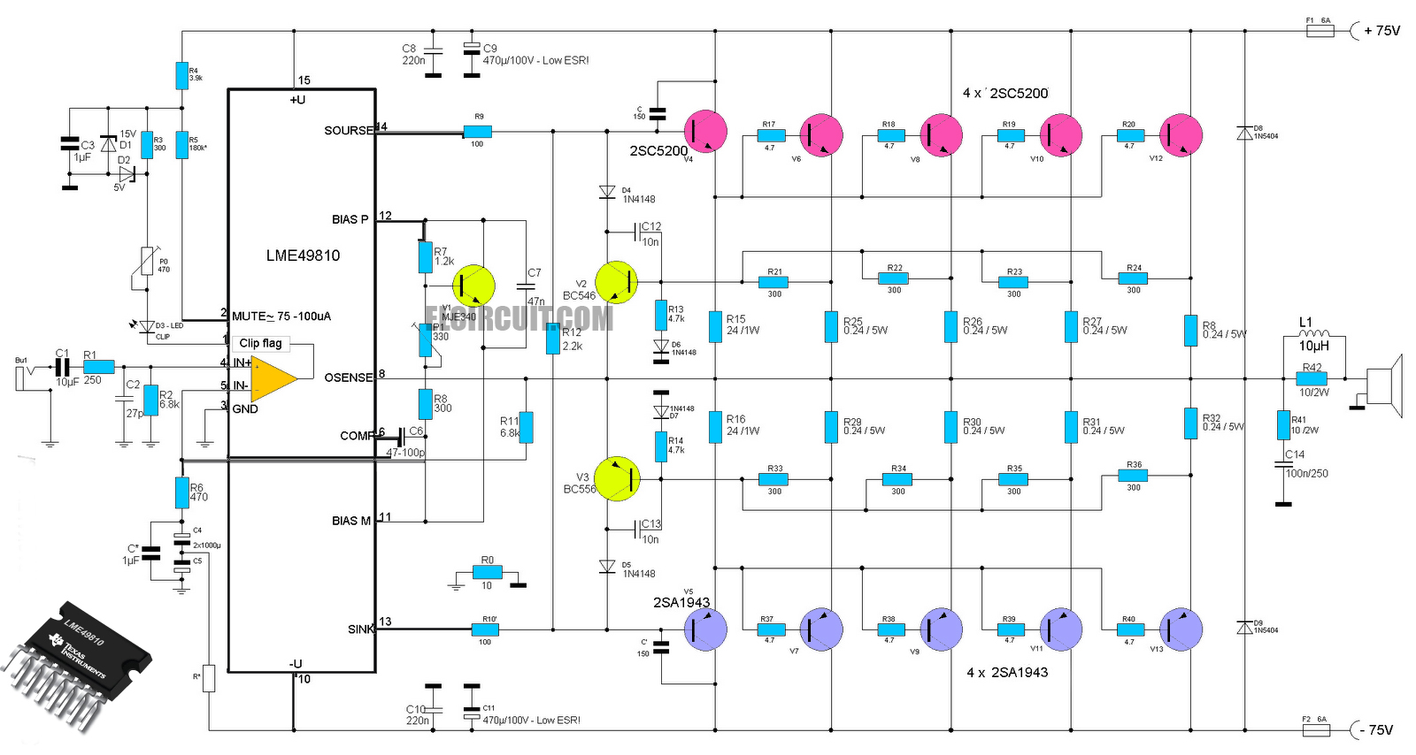 high end power amplifier lme49810 2sc5200 2sa1943 circuit diagram [ 1600 x 854 Pixel ]