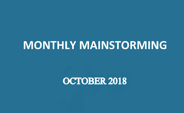 UPSC Monthly Mainstorming - October 2018 for UPSC Mains 2018
