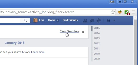 how to clear facebook search history on android