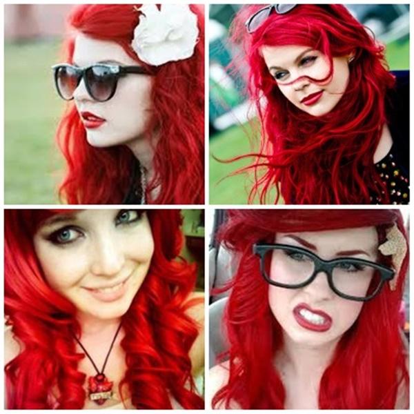 cabelos com tinta vermelho-fantasia