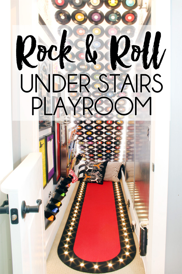 UNDER STAIRS PLAYROOM. The unused storage space under the basement stairs was transformed into a rock & roll themed kids under stairs playhouse.