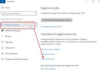 Windows 10 - Windows update opzioni avanzate