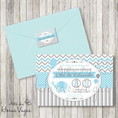convite aniversário infantil personalizado menino artesanal chá de bebê fraldas festa elefantinho elefante azul cinza envelope tag adesivo