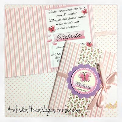 convite aniversário artesanal infantil personalizado jardim borboletas rosa lilás menina 1 aninho