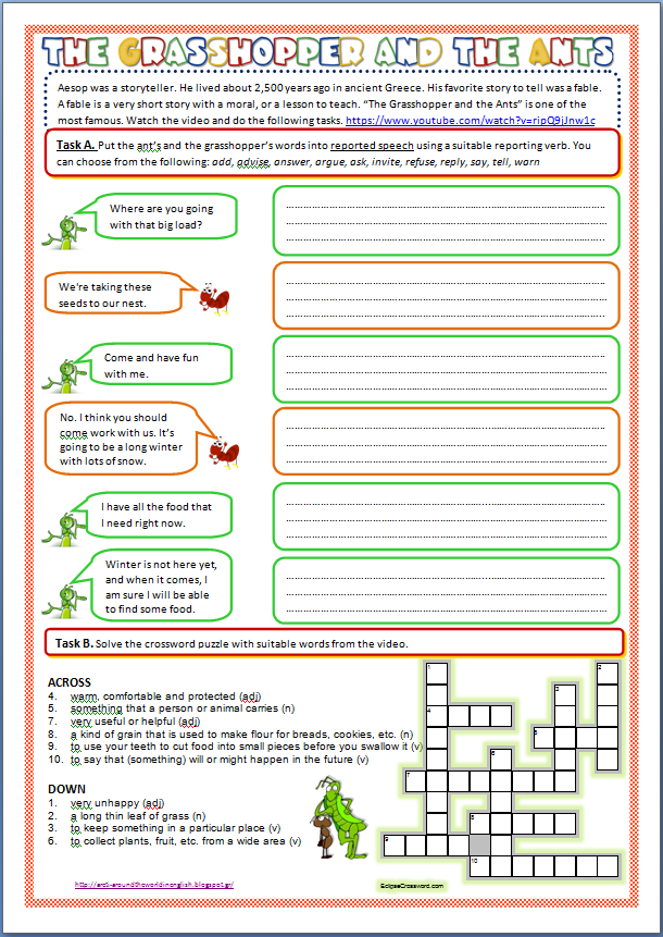 Printable Worksheets the grasshopper and the ant worksheets : Around the World in English: The Grasshopper and the Ant