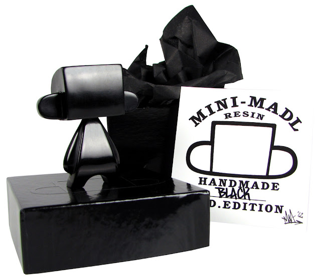 Black Mini Mad'l Resin Figure and Packaging by MAD