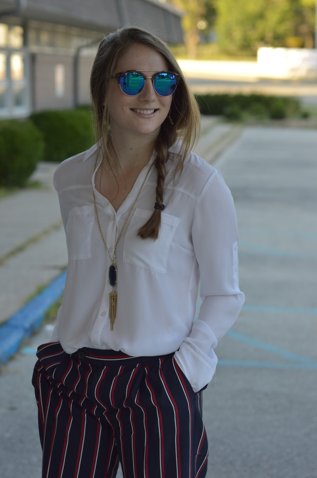 work outfit ideas | striped dress pants outfit ideas | a memory of us | what to pair with a white blouse | outfits for work with an express portofino blouse | kansas city fashion blog |