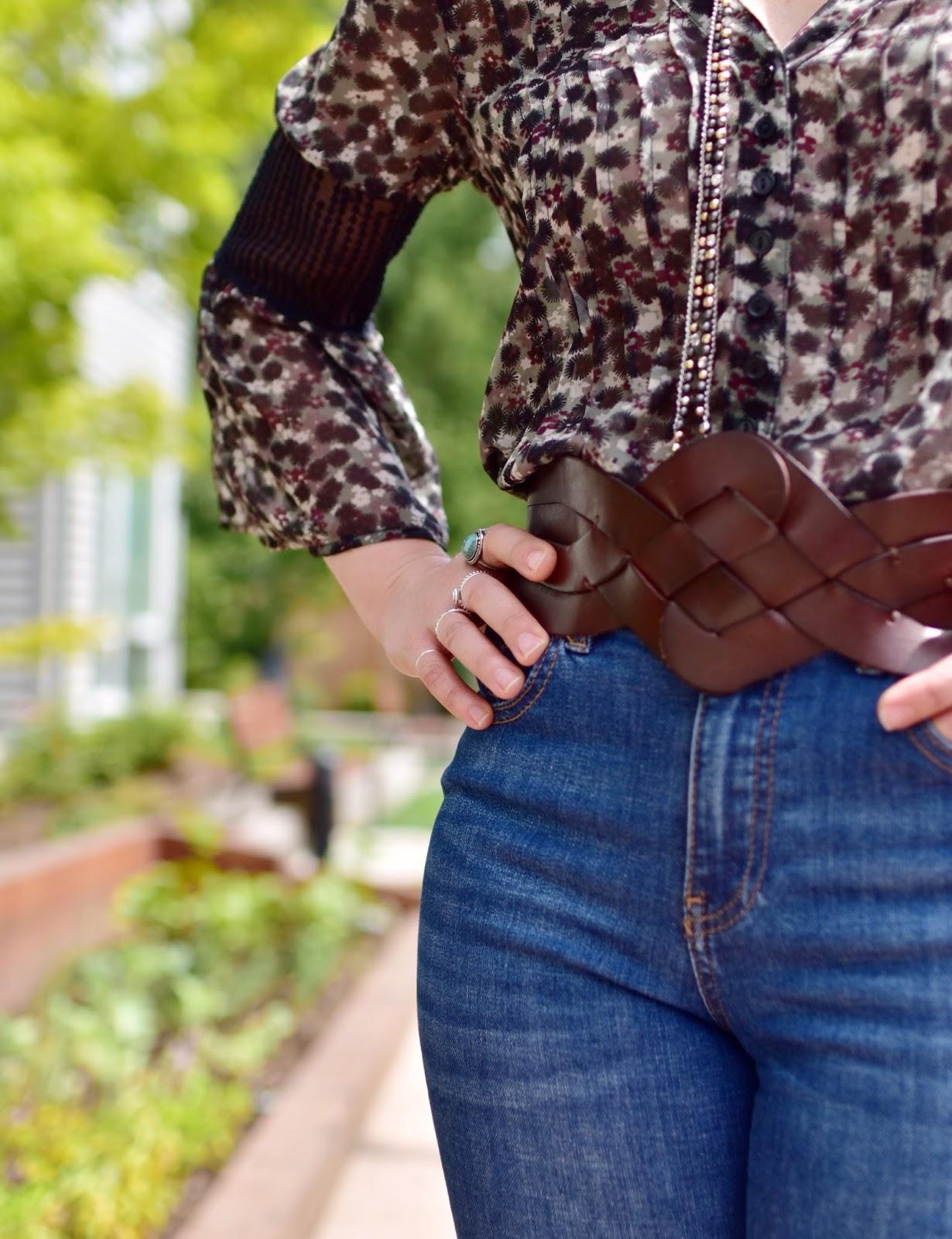 black floral peasant blouse, corset belt