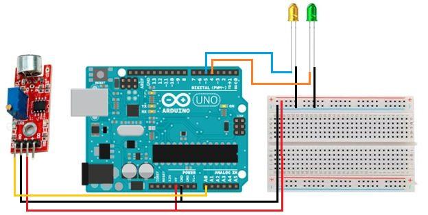 Rangkaian Menggunakan sensor suara(Condenser Mic Sensor)
